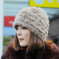 knitting rabbit fur hat/ free shipping