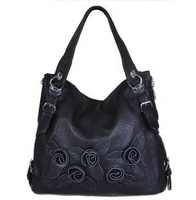 2012 woodpecker women's handbag genuine leather one shoulder hand bag vintage flower leather tote / free shipping