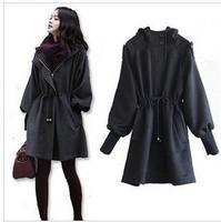 2013 New arrival winter women's wool coat - puff sleeve woolen outerwear jacket Free shipping black Gray M,L