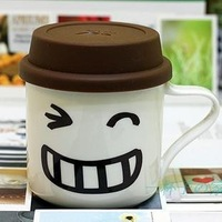 10pcs/lot DHL Free shipping Wholesale Creative porcelain coffee cup Smiling face mug with cover