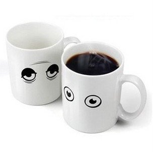 6pcs/lot EMS Free shipping Creative mark cup It just wake-up cup eyes color changing ceramic mugs(China (Mainland))