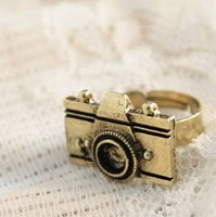 Min.order is $10 (mix order) 21A28  Fashion vintage cute personality camera ring wholesale free shipping