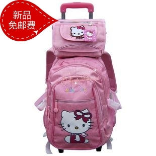 2013 hello kitty women handbag kt primary school student trolley school bag messenger bag rain cover pink for girls(China (Mainland))