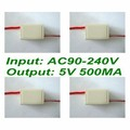 4pcs x DC5V 500mA Output AC-DC Power Supply Isolation Input AC90-240V+Case