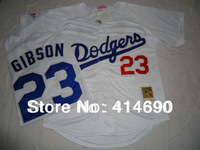 Free Shipping Wholesale&Retail Los Angeles Dodgers Jersey #23 Kirk Gibson Throwback Baseball Jersey Embroidery Logo Mix Order