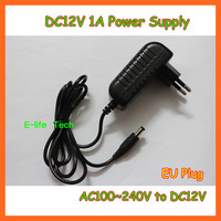 Free Shipping! 5pieces/lot AC100-240V to DC12V 1A Power Adapter Supply Charger For LED Strips Light  EU Plug