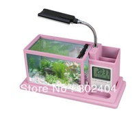 Mini  LED Desktop Lamp Light  LED Clock Fish Tank Aquarium  Built-in filter system, black/pink/blue there colors