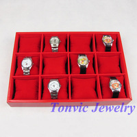 Free Shipping Red Watch Display Tray Holder For 12 Pcs TVA-RYWT-03II
