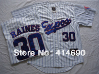Free Shipping Wholesale&Retail Montreal Expos Jersey #30 Tim Raines Throwback Baseball Jersey Embroidery Logo Can Mix Order