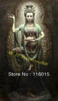 "Art Oil Painting Dunhuang Kwan-yin & Lotus Leaf Flower24""x36"" inch"