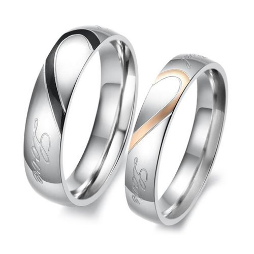 S5Y New Heart Shape Matching Titanium Steel Lovers Promise Ring Couple Wedding Bands(China (Mainland))