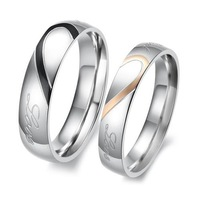 S5Y New Heart Shape Matching Titanium Steel Lovers Promise Ring Couple Wedding Bands