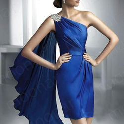 Elegant Formal Blues One Shoulder Short Prom Gown Evening Party Dress Mini Dress lf123(China (Mainland))
