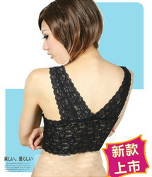 New arrival big yards plus size without rims bra back - lace bra thin long underwear sexy tops for women free shipping(China (Mainland))