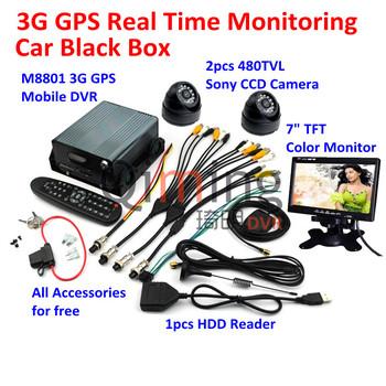 Free DHL Shipping 3G GPS Car Black Box 2pcs Cameras 1pcs Monitor Screen 1pcs HDD Reader, All Car Black Box Kit Need are Included