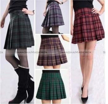 Shanghaimagicbox Women Fashion Vintage Classic Lattice Checked Pleated Short Hot ...