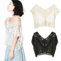 S5Y Women Fashion Sweet Cute Lace Flower Batwing Loose Blouse Shirt Top