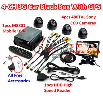 Free DHL Shipping 3G GPS Car Black Box Set: 4pcs Cameras 1pcs Screen 1pcs HDD Reader, All Car Black Box Kit Need are Included