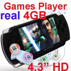 "Free Shipping 4.3"" 4GB Portable Handheld Video Game Console Player with Camera + 2000 GAMES(China (Mainland))"