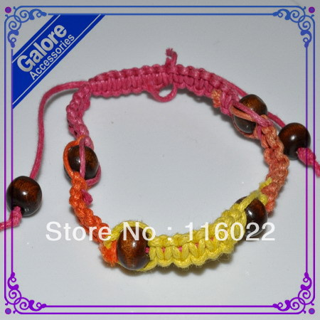 promotion items cheap price woven shamballa bracelet with wooden bead(China (Mainland))