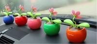 US Seller! New Red Flip Flap Solar Flower Swing Flower Toy Solar Powered Plant,5 pcs/lot-P4112QD