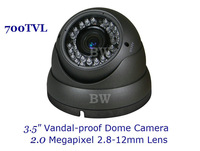 "1/3"" Sony CCD EFFIO-E 700TVLine IR Vandal-proof CCTV Dome Camera With 2.0 Megapixel 2.8-12mm Lens For Indoor,30M Night Vision"