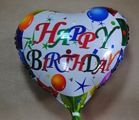 "PT0034 Quality Heart-Shaped Party Balloon, Birthday Mylar Balloon Decoration 17"" inch, 10pcs/lot, free shipping"