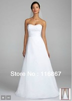 Custom made 2012 Satin Strapless A Line Gown with Ruched Waistband Style OP1002 wedding  dress