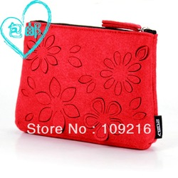 2087 personalized cosmetic bag fashion felt bag cutout flower small portable storage bag mini bag(China (Mainland))