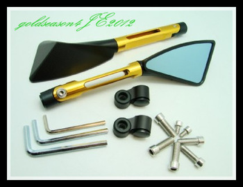 Freeshipping GOLD ALUMINUM CNC MOTORCYCLE CRUISER SPORT BIKE MIRRORS FOR ALL BIKES 10MM 8MM