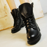 Free shipping martin boots women 2012 winter black leather motorcycle boots platform wedges ladies snow boots