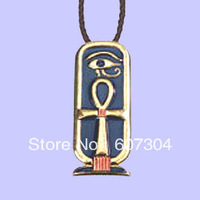 free shipping 5 pcs a lot Fashion alloy gold ankh cartouche cross necklace