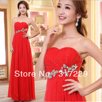 1PCS New Fashion Woman Red Diamond High Waist Wedding/Evening Party Dress FZ153