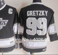 Youth jerseys, Ice hockey Kings #99 Wayne Gretzky kids' black jerseys, CCM, size S/M and L/XL in stock