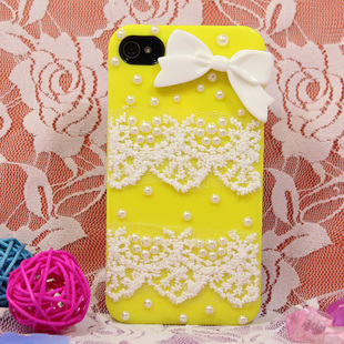 Free shipping for iphone4/4s paste pearl lace bow cute cell phone case