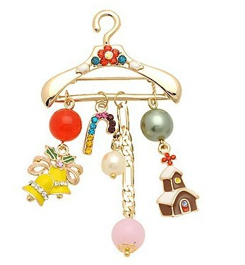 Free Shipping!TOP Quality Rhinestone Cloth Rack Hanger Brooch Pin Garment Wedding Bridal Dress Pearl Brooch(China (Mainland))