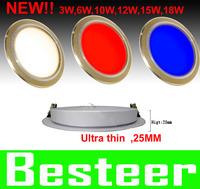 NEW!! 3W 6W 10W 12W 15W 18W LED ceiling light lamp ultra thin golden color body