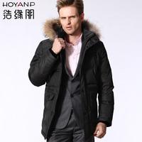 Casual male medium-long fur collar down coat male Men men's clothing