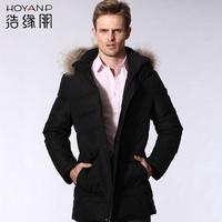 Male fur collar medium-long down coat male casual Men men's clothing