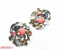 Min. Order 100PCS - Carlstore Wholesale Promotion Cute Earings With Ancient Flower And Crystal