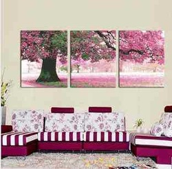 DIY wall arts Place of First Love tree flower Triptych Cross Stitch FREE SHIPPING(China (Mainland))