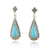 Europe and the United States jewelry restore ancient ways Thai silver blue drop earrings free shipping RuYiEH017-1