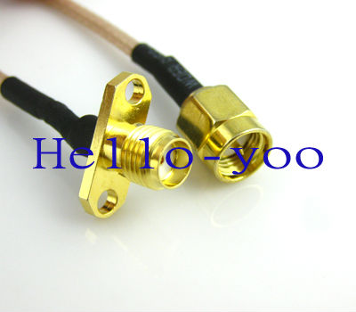Free shipping (10pcs/lot) extension cable SMA male to SMA female 2 HOLE panel mount connector pigtail cable RG316 3M(China (Mainland))