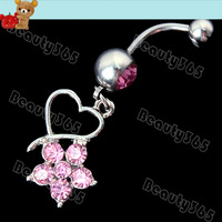 10 pcs/Lot New Flower Rhinestone Heart Navel Ring Belly Button Barbell Ring Body  Jewelry Piercing Dangle Crystal  6784
