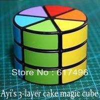 AYI three layer cake magic cube three-layer cake new magic cube 3 layer cylindrical magic cube black version