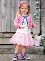 In Stock !  2013 5Pcs/Lot Girl's One Piece Dress Spring Long Seeleve  Pink Dress Girl's Veil Dress Baby Veil Dress