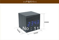 Free shipping LED Clock Calendar Thermometer Blue LED Display Voice Activated Digital Wooden Alarm Clock