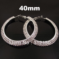 12pairs 40mm Free Shipping Wholesale Fashion Earring women Full Crystal Hoop Earring 2 layer Rhinestone Hoop Earring