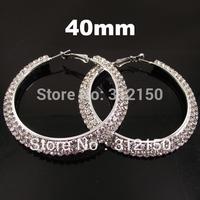 12pairs 40mm Free Shipping Wholesale Fashion Earring women Full Crystal Hoop Earring 2 layer Rhinestone Hoop Earring