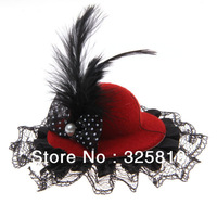 Mini Top Hat Hair Clip with Bowknot/Lace/Feather